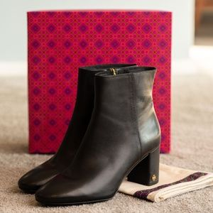Tory Burch Black Leather Ankle Boots